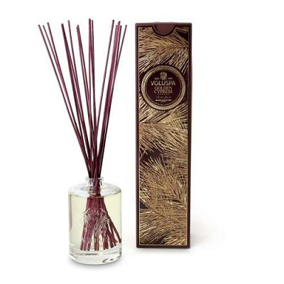 Voluspa Golden Cypress Sawara diffuser in embossed glass