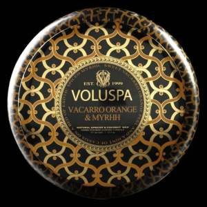 Voluspa Vacarro Orange & Myrhh 2 Wick Candle Tin