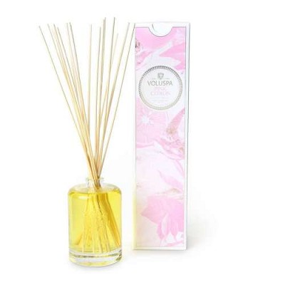 Voluspa Pink Citron diffuser in embossed glass