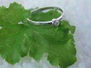White Diamond Bezel Set Ring in sterling silver by Ashley Morgan