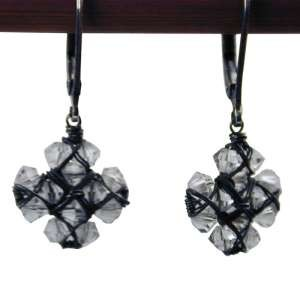 Clear Crystal Wrapped Cross oxidized silver earrings by Dana Kellin