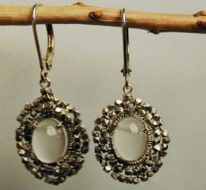 White moonstone earrings by Dana Kellin