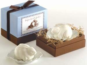 Rabbit With Leaf Dish luxury soap by Gianna Rose Atelier