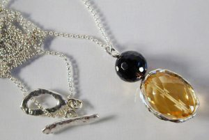 Double Circle smoky quartz & citrine NK-sterling silver by LMG & Co.