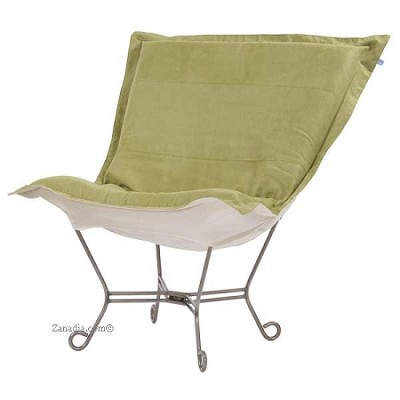 Chicago Textile puff chair-Microsuede Willow