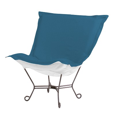 Howard Elliott Puff Chair-Sunbrella Seascape Turquoise
