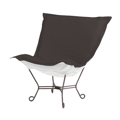 Howard Elliott Puff Chair-Sunbrella Seascape Charcoal