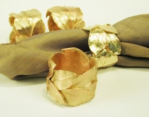 Silver Seasons Table Art Bay Leaf Set of Four Napkin Rings