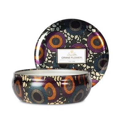Voluspa Crane Flower 3 Wick Candle Tin