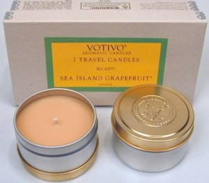 Votivo Set of 2 Travel Candles-Sea Island Grapefruit