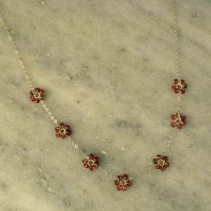 Garnet Flower Necklace