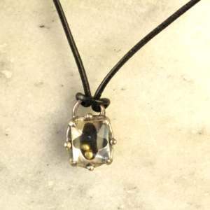 Heavy Silver Pendant with Gold Beads Necklace